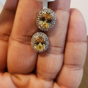 Stone stud cz diamonds oval big